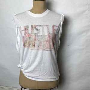 """Free People """"HUSTLE"""" graphic muscle tank top"""